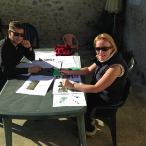 Al and Jess designing in the sunshine