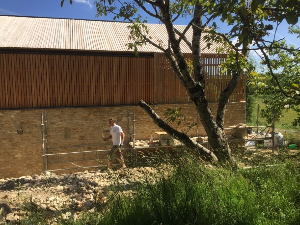 The wall and timber cladding